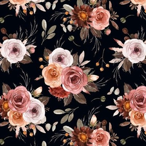 Vintage Roses Edition 1 Black Background || Floral Burgundy Apricot Pink White