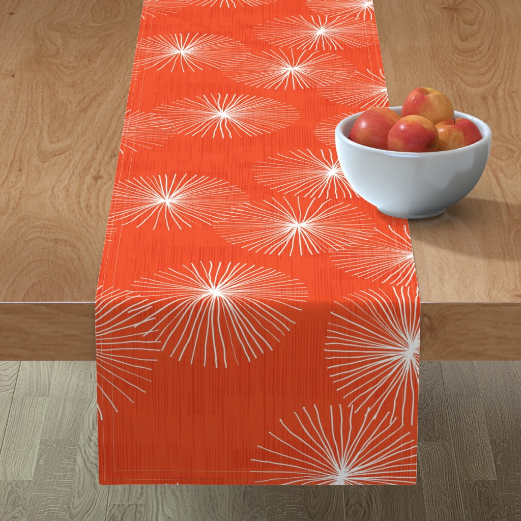 Minorca Table Runner featuring Dandelions M+M Watermelon 29 by Friztin by friztin