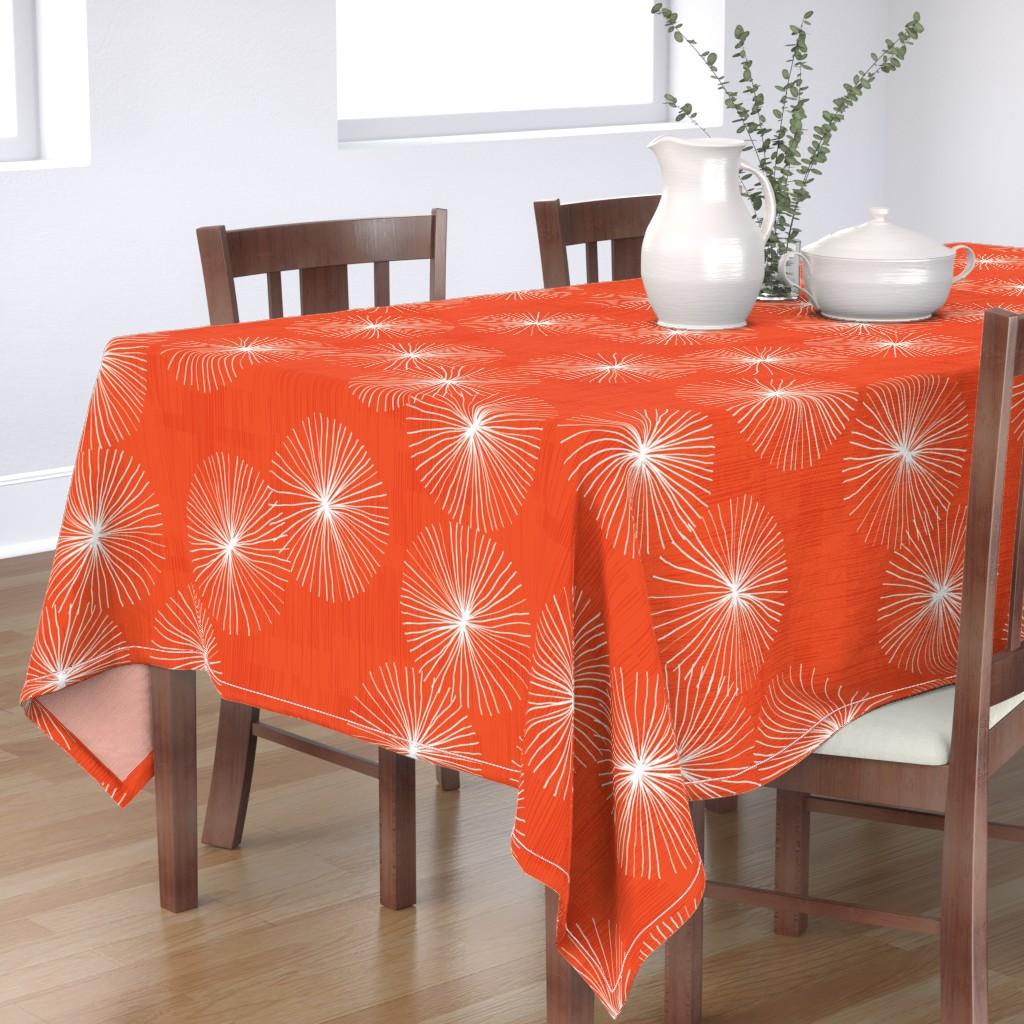 Bantam Rectangular Tablecloth featuring Dandelions M+M Watermelon 29 by Friztin by friztin