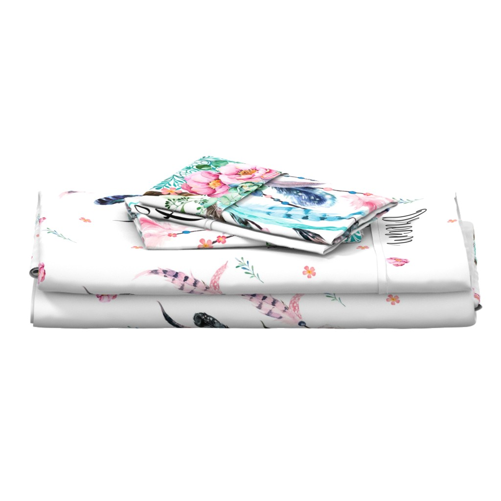 """Langshan Full Bed Set featuring 27""""x36"""" / 2 to 1 Yard of Minky / Dream Big Pink & Aqua Dreamcatcher by shopcabin"""