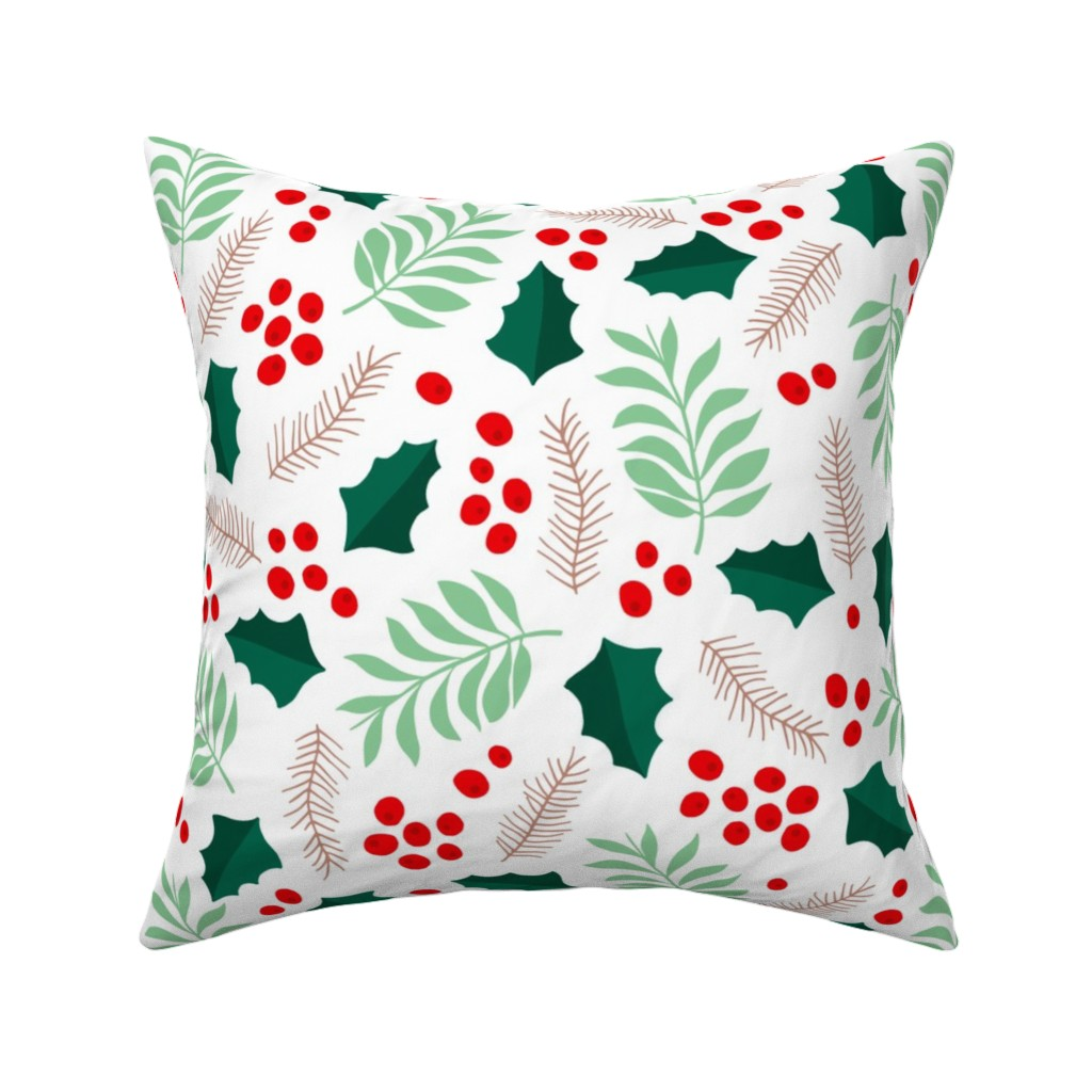 Catalan Throw Pillow featuring Botanical christmas garden pine leaves holly branch berries green red jumbo by littlesmilemakers