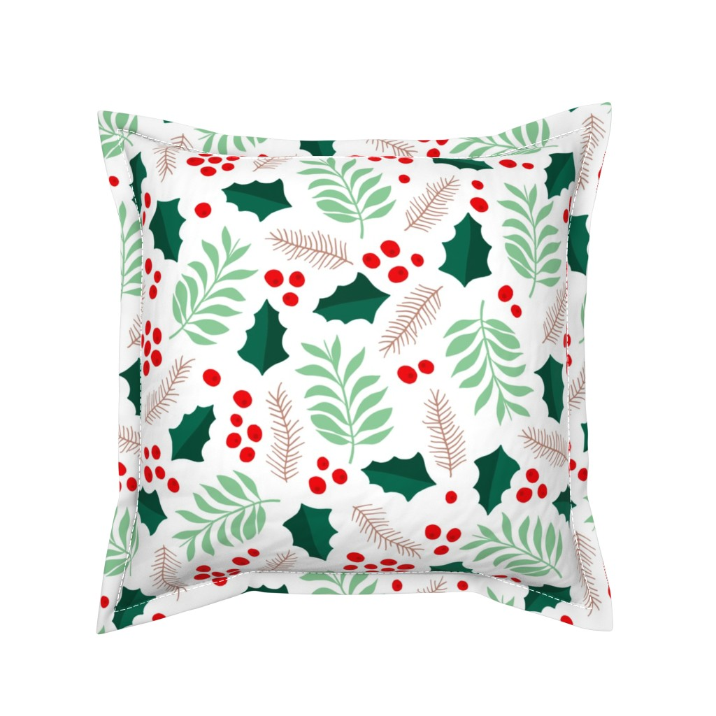 Serama Throw Pillow featuring Botanical christmas garden pine leaves holly branch berries green red jumbo by littlesmilemakers