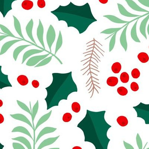 Botanical christmas garden pine leaves holly branch berries green red jumbo