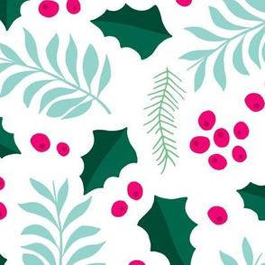 Botanical christmas garden pine leaves holly branch berries blue pink jumbo