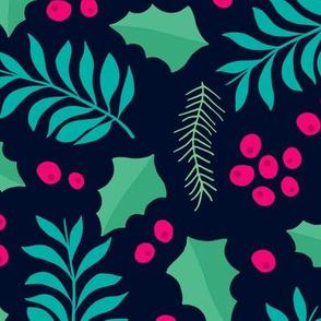 Botanical christmas garden pine leaves holly branch berries navy pink jumbo