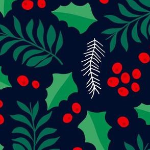Botanical christmas garden pine leaves holly branch berries green navy jumbo
