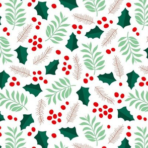 Botanical christmas garden pine leaves holly branch berries green red