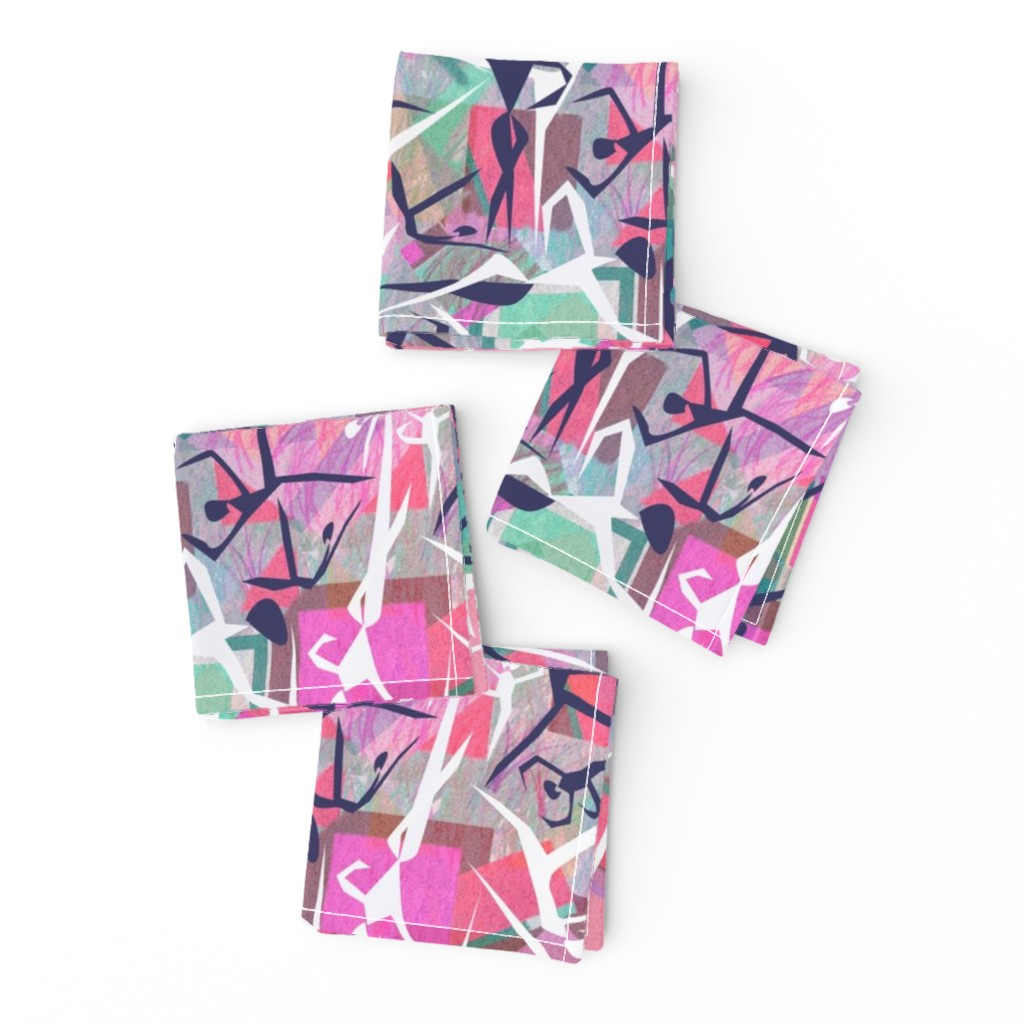 Frizzle Cocktail Napkins featuring Geometric dancers by lorloves_design