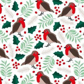 Botanical christmas garden robin birds pine leaves holly branch berries mint red