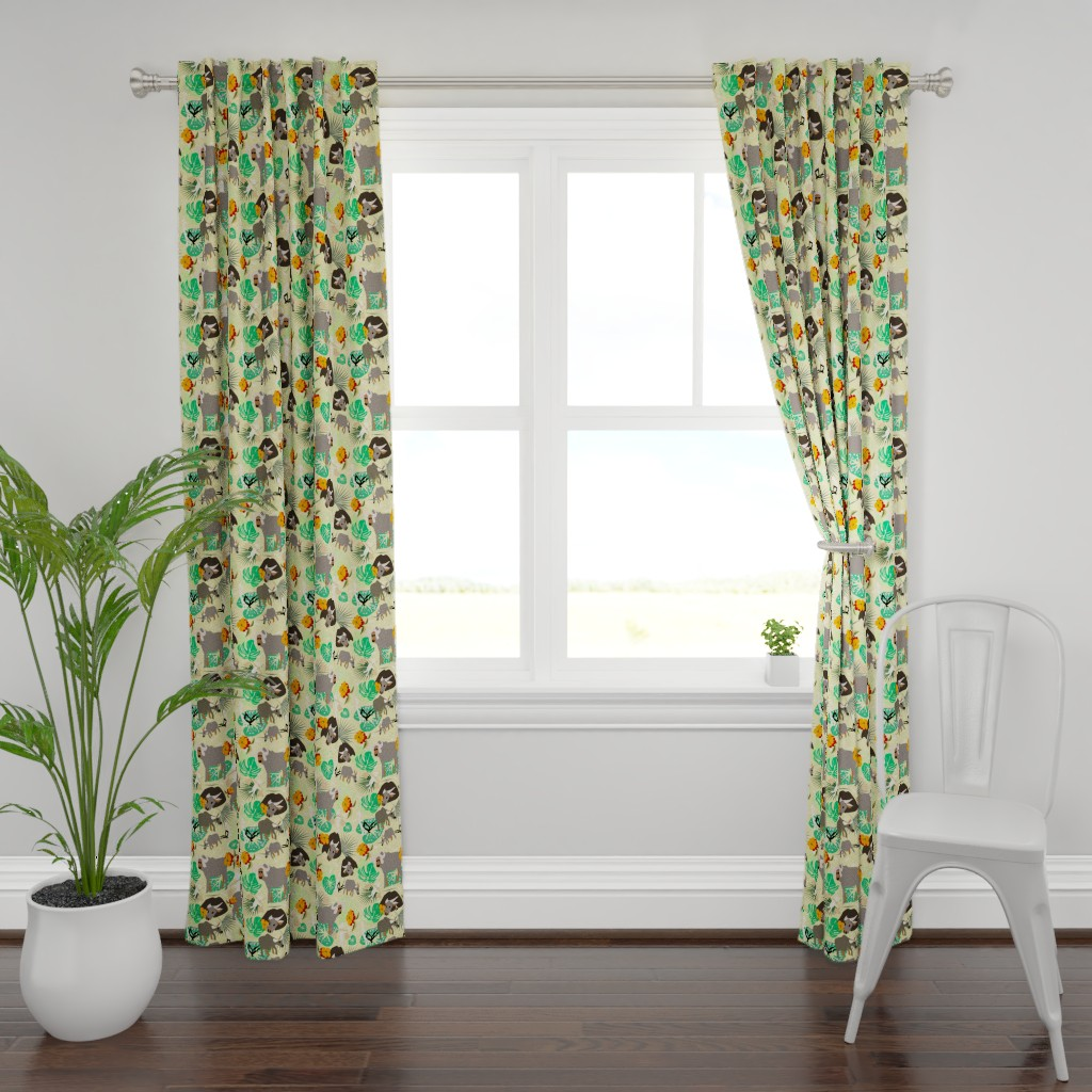 Plymouth Curtain Panel featuring waterbuffalo family2 yellow by lorloves_design
