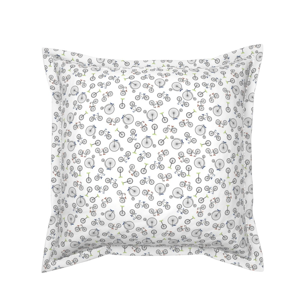 Serama Throw Pillow featuring Ditsy Bikes by candyjoyce