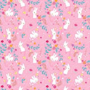 Spring Bunnies Pink - Smaller Print