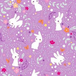 Spring Bunnies Purple- Larger Print