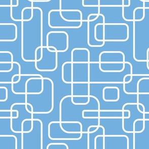 Rounded Rectangles - white on light  blue