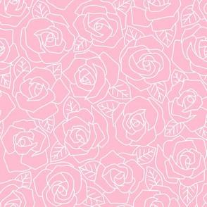 Dense Rose Line Art Pink