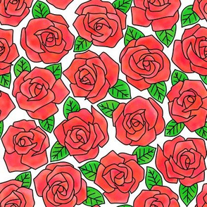 Dense Rose Watercolor Red