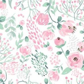 Pink Peonies Watercolor Florals