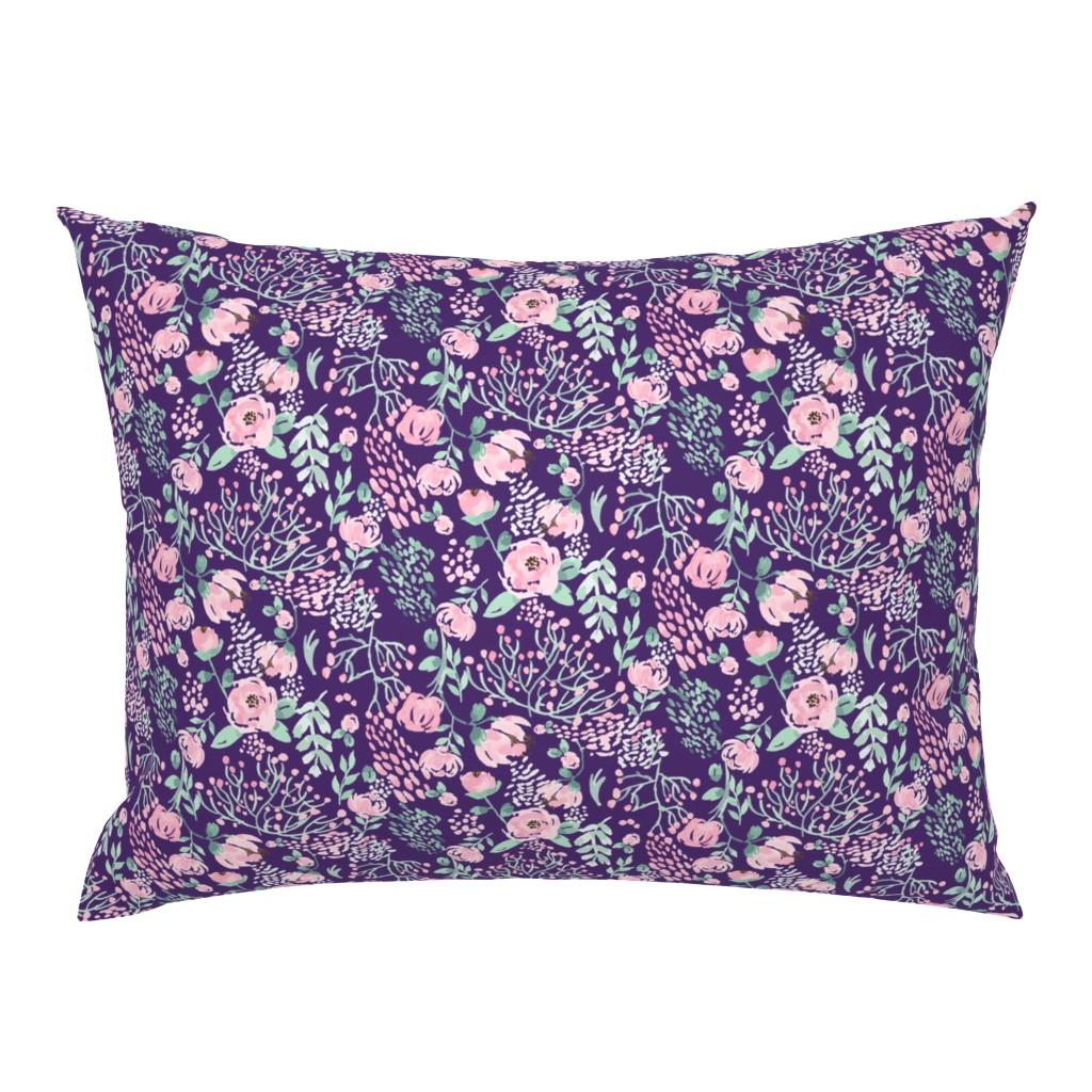 Campine Pillow Sham featuring watercolors-halfdrop-2-purple by sobonnydesigns