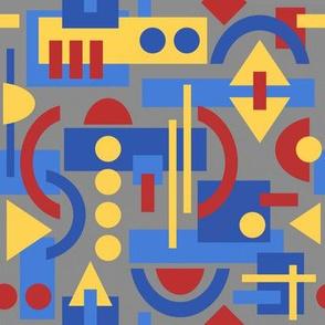 Bauhaus inspired geometric on grey