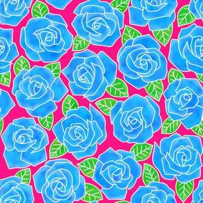 Dense Rose Watercolor Blue | Pink Background