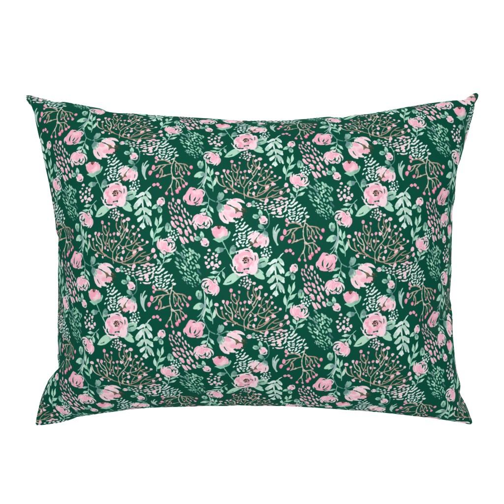 Campine Pillow Sham featuring Green Fields Watercolor Florals by sobonnydesigns