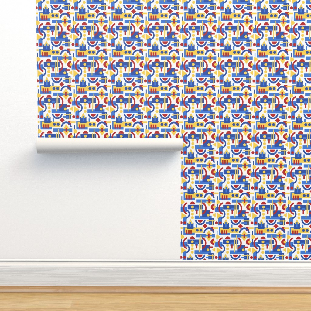 Isobar Durable Wallpaper featuring Bauhaus inspired geometric on White by inklaura