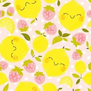 Strawberry Lemon Pattern Pink - Larger Print