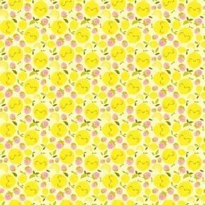 Strawberry Lemon Pattern White - Larger Print