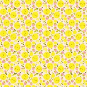 Strawberry Lemon Pattern White - Smaller Print