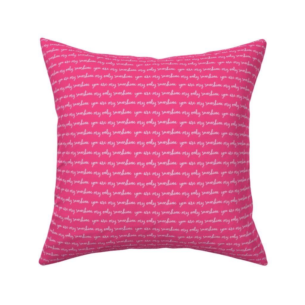 Catalan Throw Pillow featuring Sunshine - hot pink (condensed) C18BS by littlearrowdesign