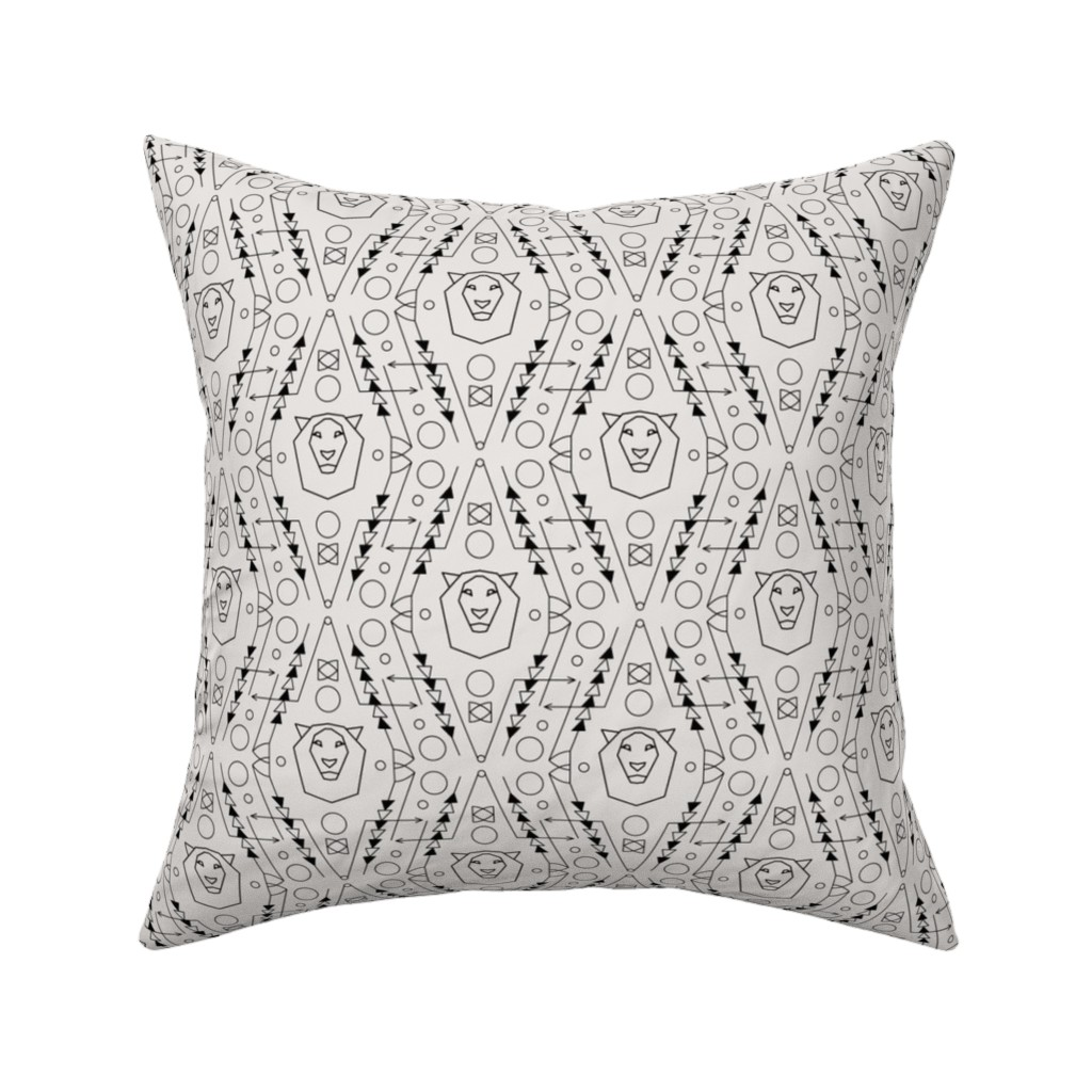 Catalan Throw Pillow featuring Tribal Geometric Pattern with Lion by dacascas