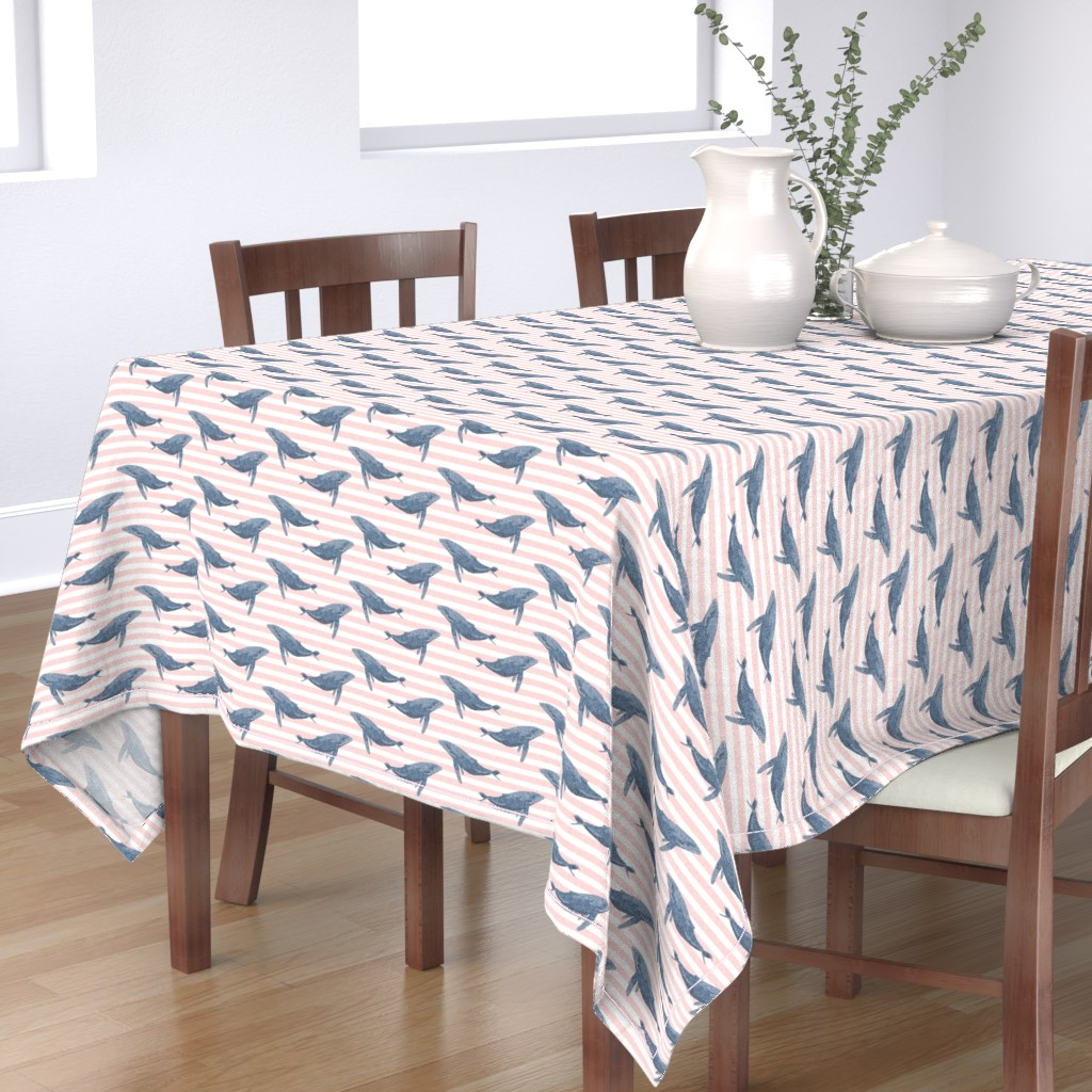 Bantam Rectangular Tablecloth featuring whale ocean animal whales nautical fabric stripe light pink by charlottewinter