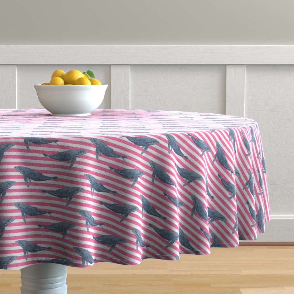 Malay Round Tablecloth featuring whale ocean animal whales nautical fabric stripe pink by charlottewinter