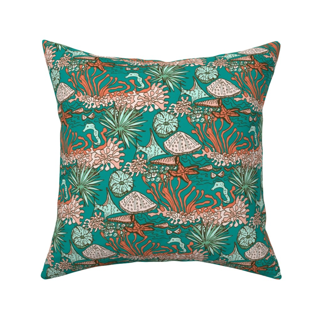 Catalan Throw Pillow featuring Reef Life in Teal Water by rhondadesigns
