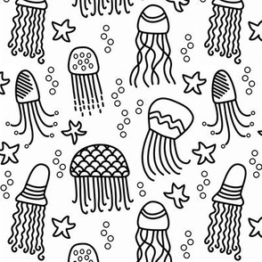 Jellyfish doodle black and white coloring book