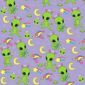 More Space Aliens - UFO Doodles, 90s, Kawaii Cute Pastel Goth Cute on Purple