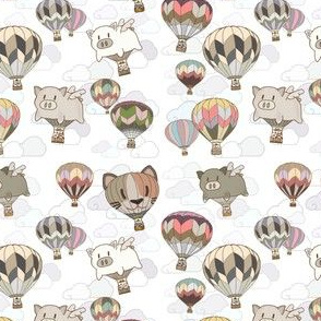 When pigs fly, Hot Air Ballooning, White Sky