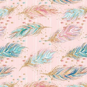 Rotated Pink Woodland Feathers