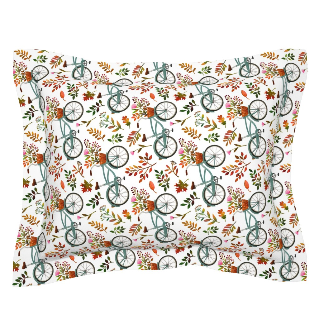 Sebright Pillow Sham featuring autumn bike ride - white, large, 90 degree rotated by mirabelleprint