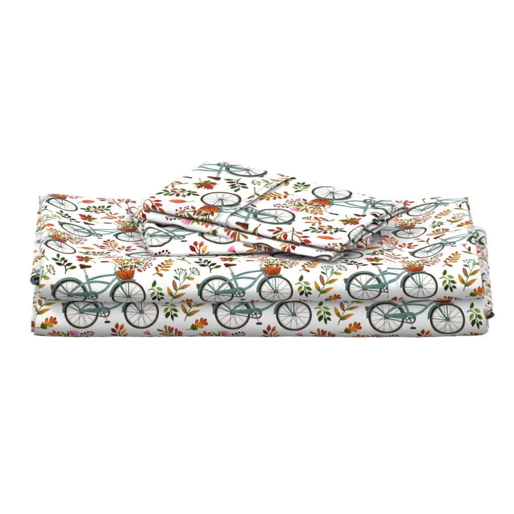Langshan Full Bed Set featuring autumn bike ride - white, large, 90 degree rotated by mirabelleprint