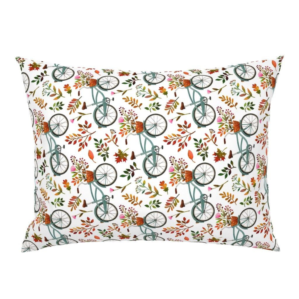 Campine Pillow Sham featuring autumn bike ride - white, large, 90 degree rotated by mirabelleprint