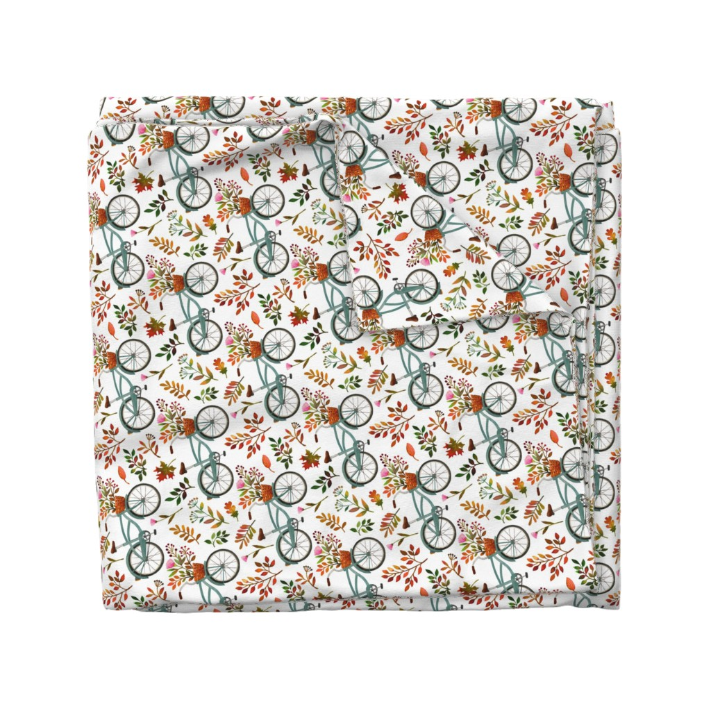 Wyandotte Duvet Cover featuring autumn bike ride - white, large, 90 degree rotated by mirabelleprint