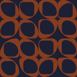 Geometric Pattern II - Navy and Rust