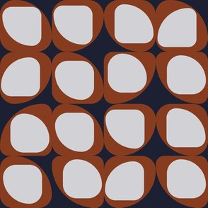 Geometric Pattern I - Navy and Rust