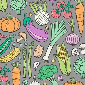 Vegetables Food Doodle on Dark Grey