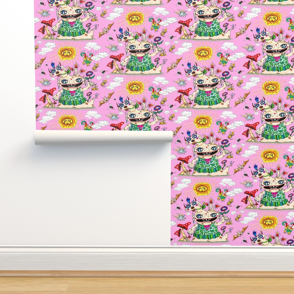 Isobar Durable Wallpaper featuring little baby girl she-beast and friends pink, large scale by amy_g
