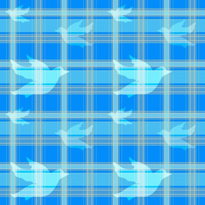 Doves In Blue Plaid