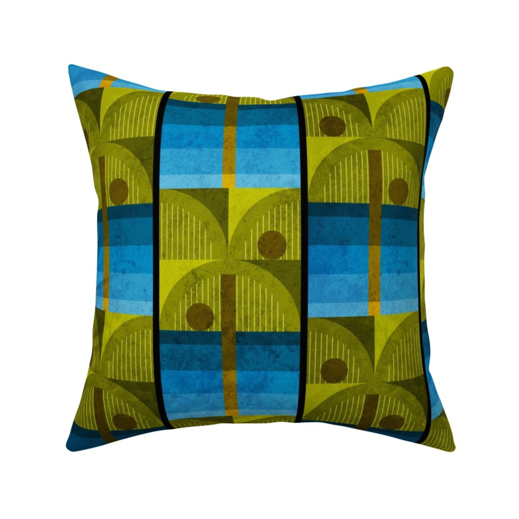 Catalan Throw Pillow featuring Bauhaus Palms by mia_valdez