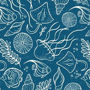 Sea Life - Blue White Outline