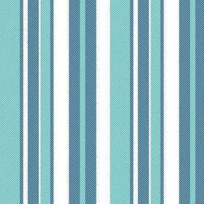 Beach House Stripe - Navy Aqua White